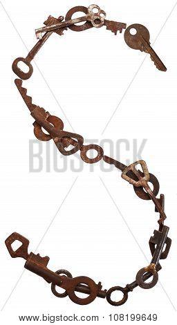 Alphabet from old keys. Letter S