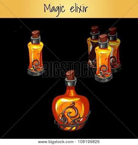 Set of vintage magic elixirs, three bottles