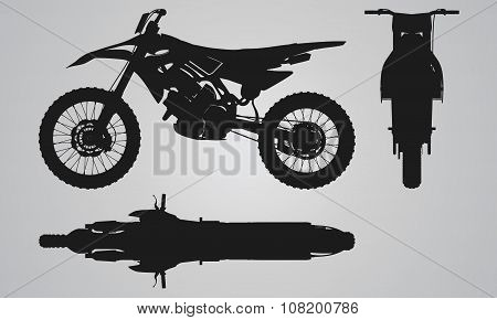 Front, top and side motorbike projection
