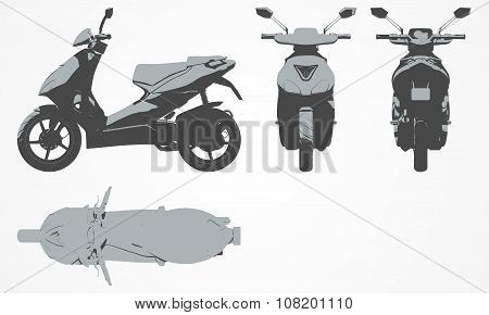 Front, top, back and side scooter projection