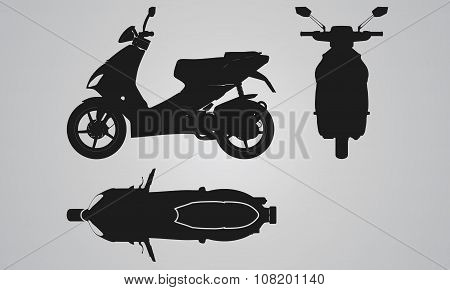 Front, top and side scooter projection