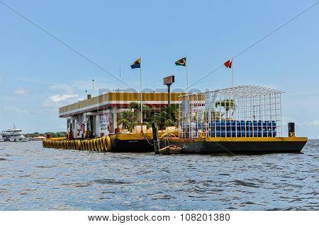 Gas Station In The Amazon River, Santarem, Brazil