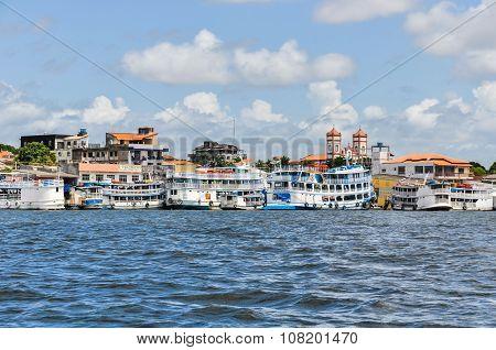 Boats Waiting In Santarem, The Amazon, Brazil