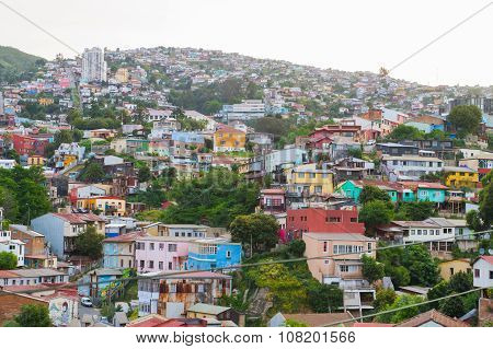 Aerial view of Concepcion and Alegre districts of the protected UNESCO World Heritage Site of Valparaiso on November 7 2015 in Valparaiso Chile