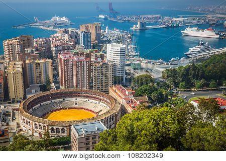 MALAGA,SPAIN-2,MAY,2014:View Of Malaga Plaza de Toros. Spain