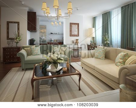 Living Room Neoclassical Style