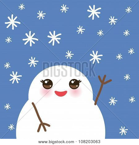 cute cartoon white kawaii snowmen with snowflakes on blue background for winter design. Vector
