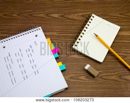 Turkish; Learning New Language Writing Words On The Notebook