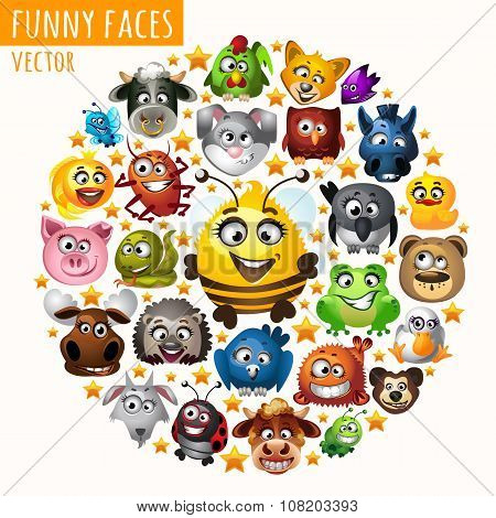 Funny animals in the circle