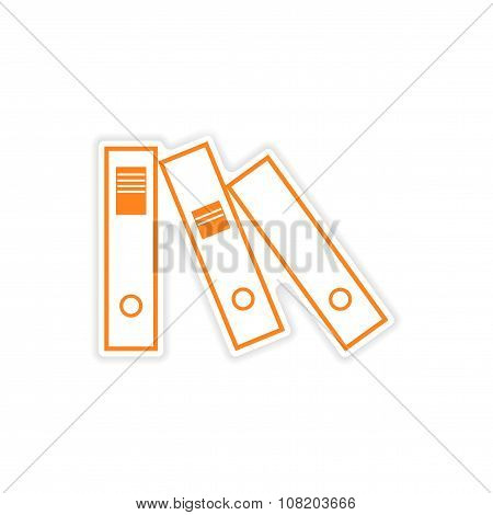 stylish sticker on paper folders for documents