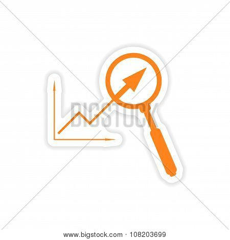 stylish sticker on paper graph and magnifier