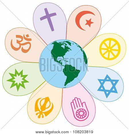 World Religions United Peace Flower Symbol