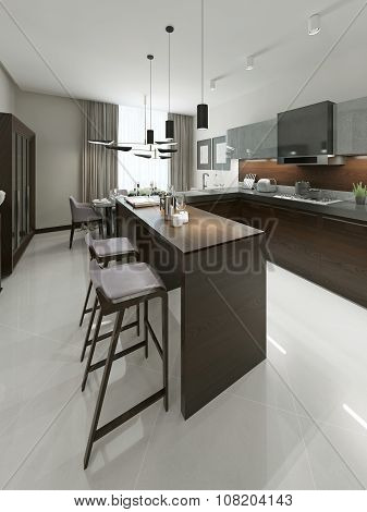 Interior Contemporary Kitchen With Bar And Bar Stools.