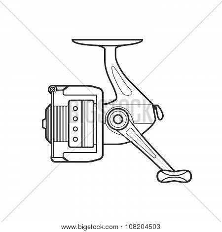 Outline Fishing Reel Illustration.