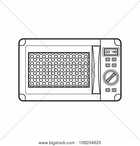 Outline Black Microwave Oven Illustration.