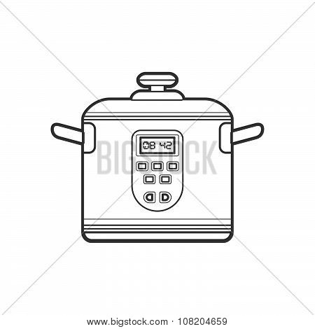 Outline Kitchen Multicooker Illustration.