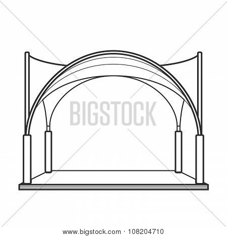 Outline Folding Tent Marquee Pavilion Illustration.