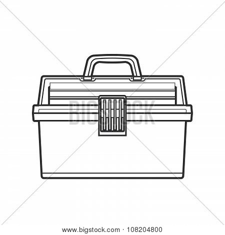 Outline Fishing Tackle Box Illustration.