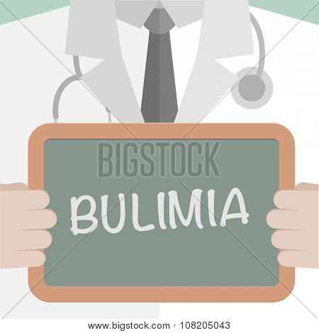 minimalistic illustration of a doctor holding a blackboard with Bulimia text, eps10 vector