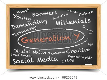 detailed illustration of a Generation Y wordcloud on a blackboard, eps10 vector, gradient mesh included