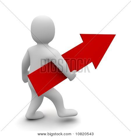 Man with big red up pointing arrow