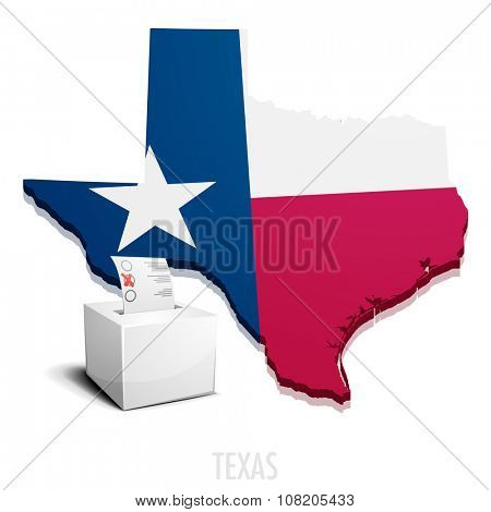 detailed illustration of a ballotbox in front of a map of Texas, eps10 vector