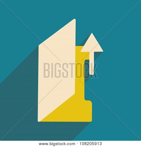 Flat with shadow icon and mobile application folder