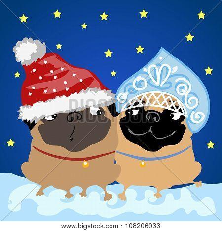Santa Claus flirting with snow maiden