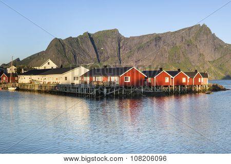 Red Fishing Hut (rorbu) On The Hamnoy Island,  Lofoten, Norway