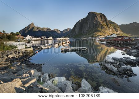 Small Fishing Port In The Hamnoy, Lofoten Islands, Norway