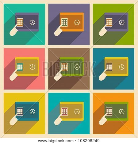 Modern flat icons vector collection with shadow safe PIN hand