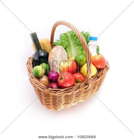 Basket with groceries
