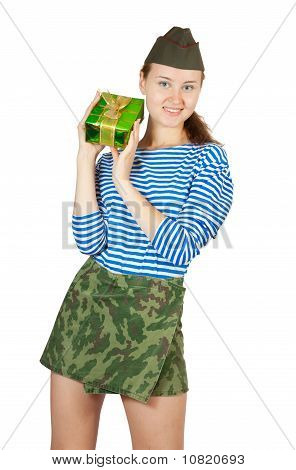 Pretty Military Girl With Present