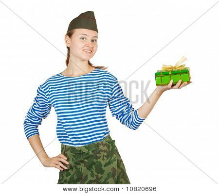 Girl In Military Clothes Holding Green Box