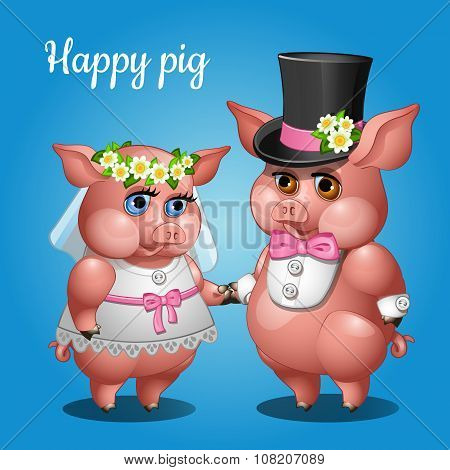 Cute couple pigs in suits, the bride and groom