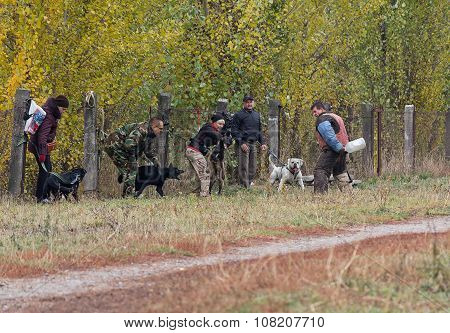 Kiev, Ukraine - October 25, 2015: Instructor Trains Aggressive Guard Dogs When Their Owners