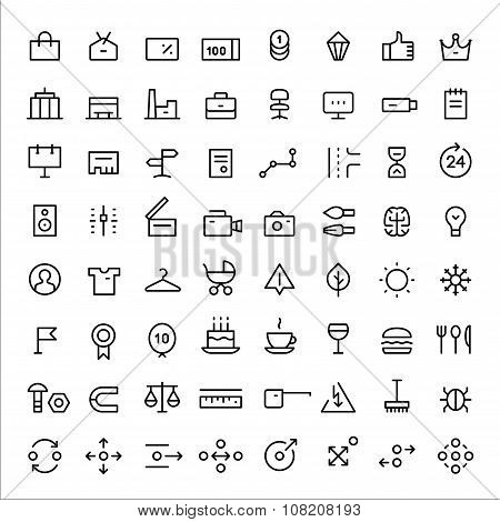 Linear icons set for web services vol.2. Thin lines. Black.