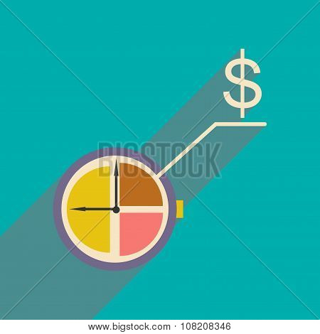 Flat design modern vector illustration icon Watch chart Money