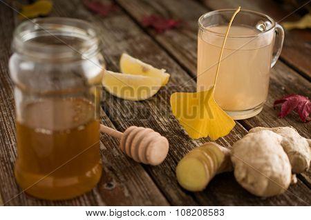 Common Cold Folk Medicine Ginger Root Honey And Lemon Tea