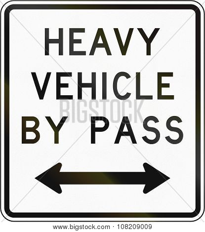 New Zealand Road Sign - Bypass For Heavy Vehicles In Either Direction