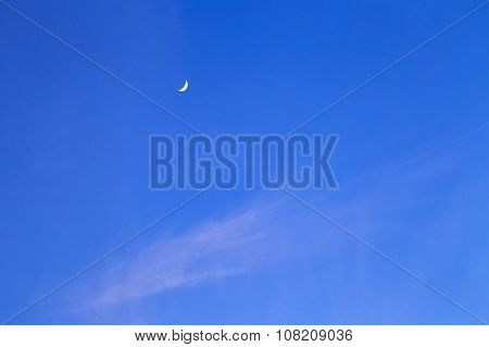 Crescent Moon In Sky