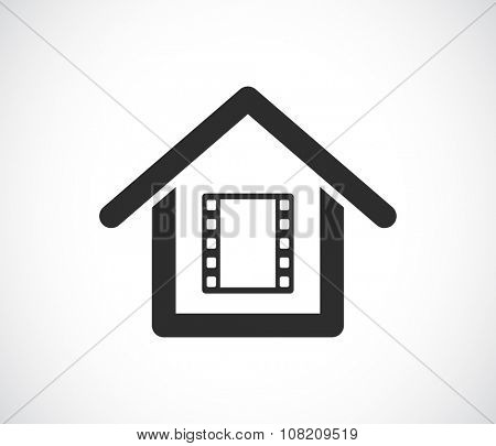 house with film strip inside