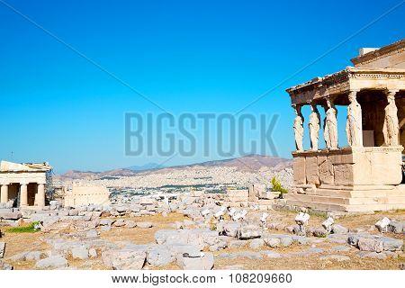 Statue Acropolis Athens     Old Architecture