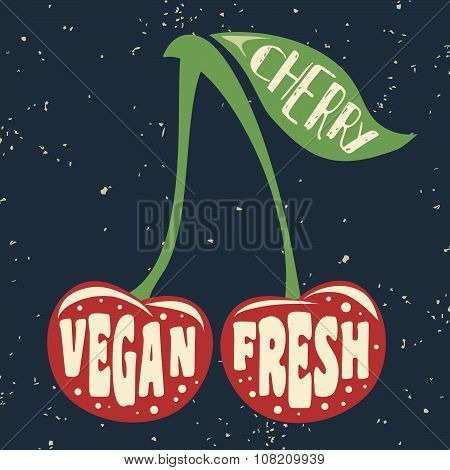 Vegan Typographic Print With Cherry.