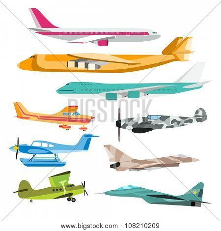 Civil aviation travel passenger air plane vector illustration. Civil commercial airplane flying vector silhouette. Travel plane isolated on background. Cargo transportation airplane vector isolated