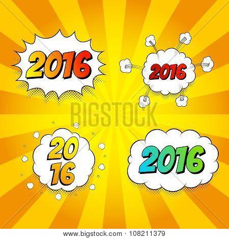 Set Of Pop Art Comic New Year 2016