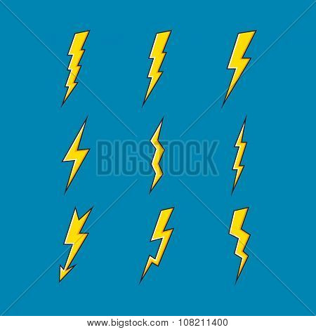 Vector Set Of Lightning Icons