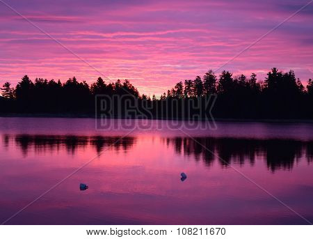 Dramatic sunrise at Moosehead Lake