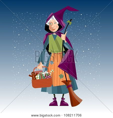 Italian Christmas Tradition. Befana. Old Woman With Broom And Festive Basket.