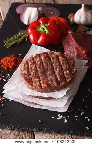 Raw Ground Beef Meat Burger Steak Cutlets. Vertical Closeup